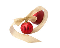 Red christmas decoration balls with gold ribbon Stock Image