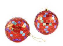 Red christmas decoration balls isolated Royalty Free Stock Photo