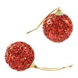 Red christmas decoration balls isolated Stock Photo