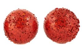Red christmas decoration balls isolated Royalty Free Stock Images