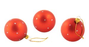 Red christmas decoration balls isolated Stock Images