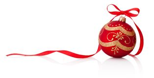 Red Christmas decoration bauble with ribbon bow isolated on whit Stock Photo