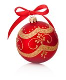 Red Christmas decoration bauble with ribbon bow isolated on whit Royalty Free Stock Photo