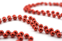 Red Christmas decoration beads Royalty Free Stock Photo