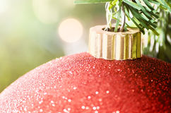 Red Christmas decoration with blurry background - Close up Royalty Free Stock Photography
