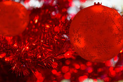 Red Christmas decoration on bokeh background Stock Image