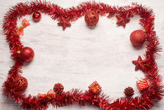 Red christmas decoration frame Royalty Free Stock Photos