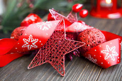 Red Christmas Decoration with Glitter Star and Festive Ribbon Royalty Free Stock Image