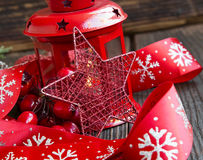 Red Christmas Decoration with Glitter Star and Festive Ribbon Stock Image