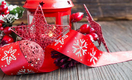 Red Christmas Decoration with Glitter Star,Lantern and Festive Ribbon Stock Photo