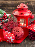 Red Christmas Decoration with Glitter Star,Lantern and Festive Ribbon Royalty Free Stock Photo