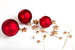 Red Christmas decoration with golden stars Royalty Free Stock Photos