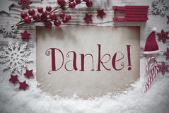 Red Christmas Decoration, Snow, Danke Means Thank You