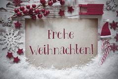 Red Christmas Decoration, Snow, Frohe Weihnachten Means Merry Christmas stock images