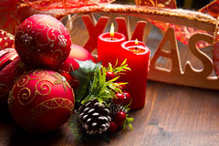 Red christmas decoration. Some red christmas decoration on wood Royalty Free Stock Photos