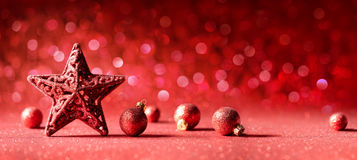 Red Christmas Decoration - Star And Balls Stock Photo