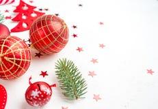 Red christmas decoration on whitebackground. Flat lay royalty free stock photo