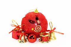 Red Christmas decorations. 7 items with the red Chinese new year Royalty Free Stock Image