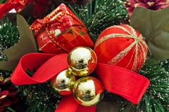 Red Christmas decorations. Balls gifts and ribbon red Christmas decorations stock photography