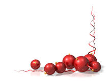 Red Christmas Decorations. Illustration of a Christmas motif using red baubles and streamers stock illustration