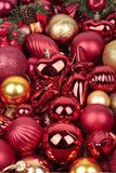 Red Christmas decorations. Red & gold Christmas balls decorations Stock Photo