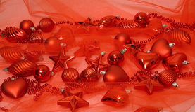 Red Christmas decorations. Lots of red Christmas decorations stock photo