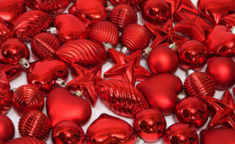 Red Christmas decorations. Lots of red Christmas decorations royalty free stock image