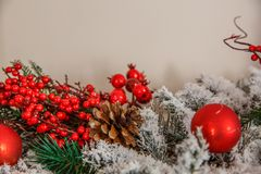 Red Christmas decorations. the bumps in the snow christmas tree brunch. Christmas background Stock Photography