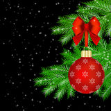 Red Christmas decorations on fir tree Royalty Free Stock Images