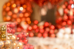 Red Christmas decorations glittering background Royalty Free Stock Photo