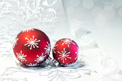 Red Christmas decorations with silver ornament Stock Photos
