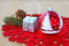 Red Christmas decorations Stock Photos