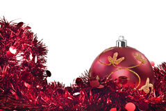 Red christmas decorations on white Stock Image