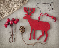 Red christmas deer Stock Photos
