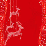 Red Christmas deer greeting card Royalty Free Stock Photos