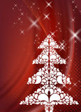 Red christmas design with tree Royalty Free Stock Images