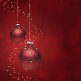 Red Christmas. Digital Composite from Two Red Christmas Balls with Stars Stock Photos