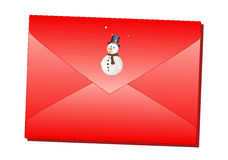 Red Christmas envelope. With snowman vector illustration