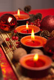 Red Christmas festive candles Royalty Free Stock Photo