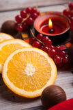 Red Christmas festive candles with orange Royalty Free Stock Image