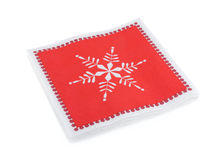 Red Christmas or festive paper napkins aka serviettes, isolated Stock Photo