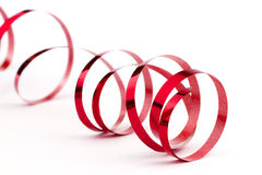 Red christmas foil ribbon Stock Photo