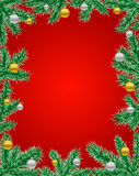 Red christmas frame. Fir tree frame with baubles on the red background Royalty Free Stock Photos