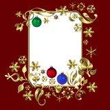 Red Christmas frame. Illustration of a decorative red Christmas frame with space for text Stock Images
