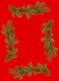 Red christmas frame from fir branches Royalty Free Stock Photo