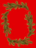 Red christmas frame from fir branches Stock Image
