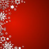 Red christmas frame with snowflakes Stock Images