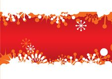 Red Christmas frame with snowflakes Stock Photo