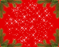Red christmas frame with sparkles stock photo