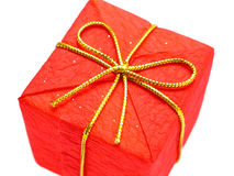 Red Christmas Gift. Isolated Stock Photo